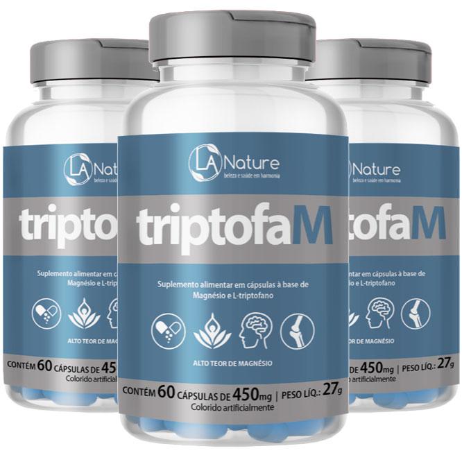 TriptofaM 450mg - 03 Potes com 60 cápsulas  - Natural Show - Produtos Naturais, Suplementos e Cosméticos