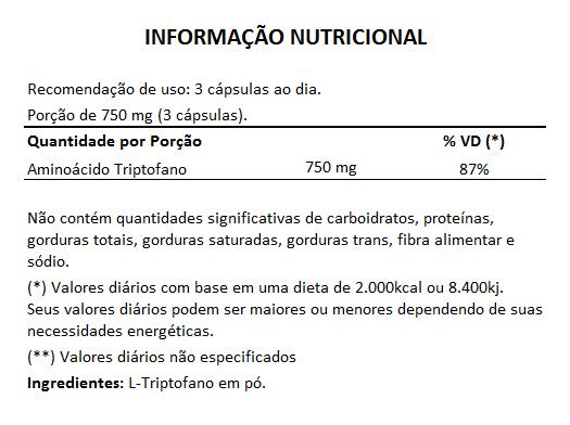 Triptofano - 100% Puro - 250mg - 05 Potes  - Natural Show - Produtos Naturais, Suplementos e Cosméticos