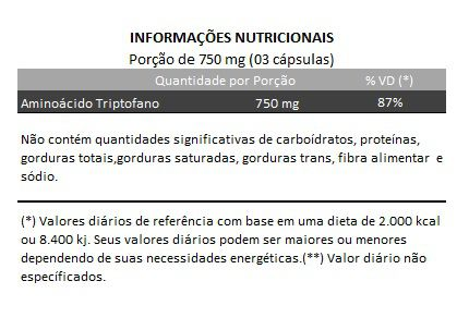 Triptofano - 100% Puro - 60 cápsulas de 250mg  - Natural Show - Produtos Naturais, Suplementos e Cosméticos