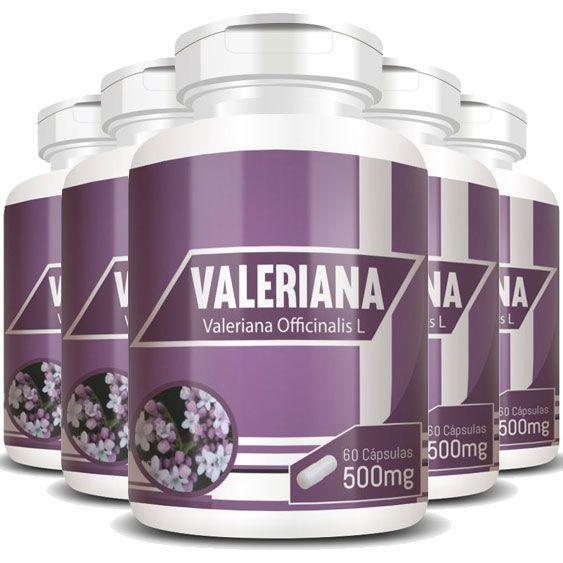 Valeriana 100% Pura 500mg - 05 Potes   - Natural Show - Produtos Naturais, Suplementos e Cosméticos