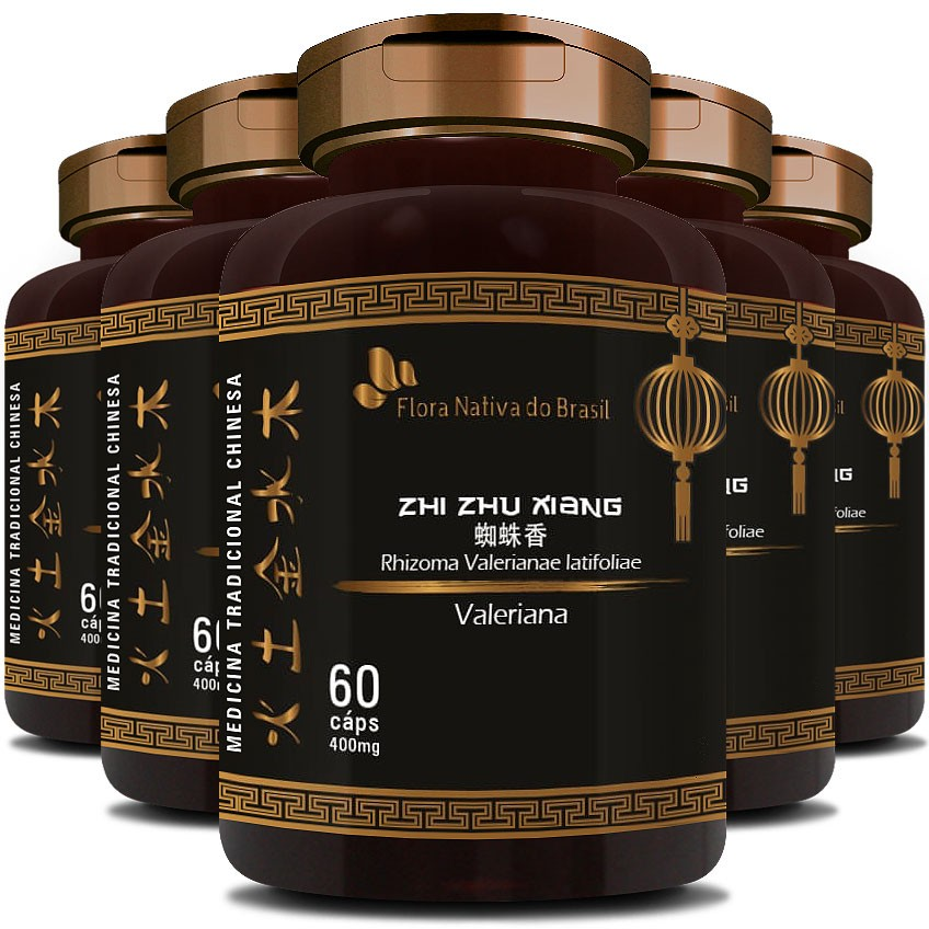 Valeriana 400mg - 100% Pura - 5 Potes (300 cáps.)