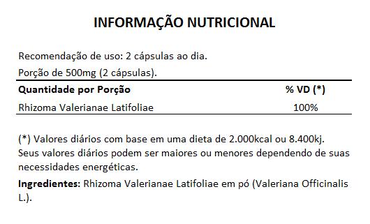 Valeriana em Cápsulas de 500mg - 100% Pura (Zhi Zhu Xiang Rhizoma Valerianae Latifoliae)  - Natural Show - Produtos Naturais, Suplementos e Cosméticos