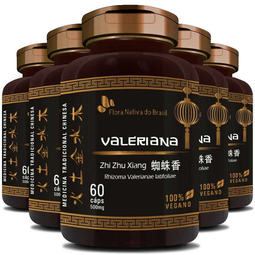 Valeriana em Cápsulas de 500mg - 100% Pura (Zhi Zhu Xiang Rhizoma Valerianae Latifoliae) - 5 Potes  - Natural Show - Produtos Naturais, Suplementos e Cosméticos