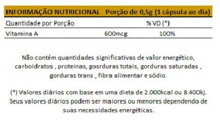 Vitamina A - 60 Cápsulas de 500mg   - Natural Show - Produtos Naturais, Suplementos e Cosméticos