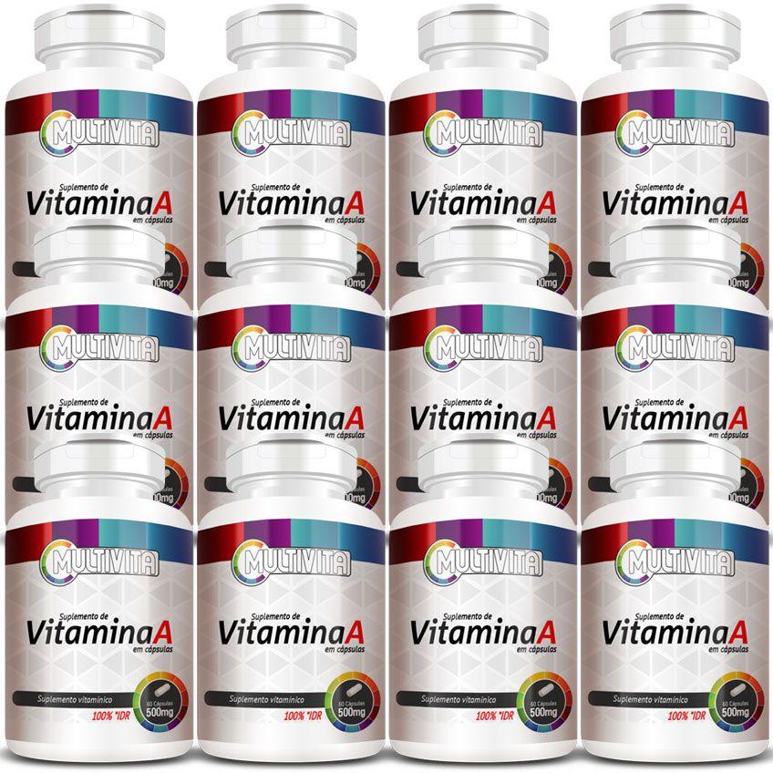 Vitamina A em Cápsulas de 500mg - 12 Potes  - Natural Show - Produtos Naturais, Suplementos e Cosméticos
