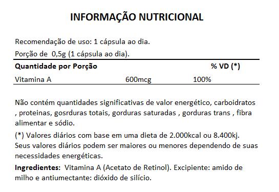 Vitamina A em Cápsulas de 500mg - 5 Potes  - Natural Show - Produtos Naturais, Suplementos e Cosméticos