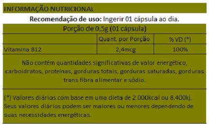 Vitamina B12 - 500mg - 3 Potes  - Natural Show - Produtos Naturais, Suplementos e Cosméticos