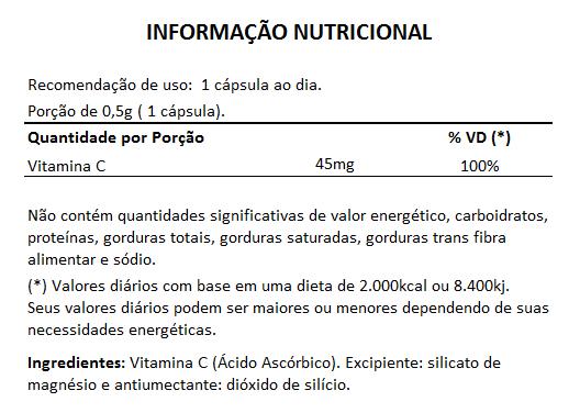 Vitamina C - 60 Cápsulas de 500mg  - Natural Show - Produtos Naturais, Suplementos e Cosméticos