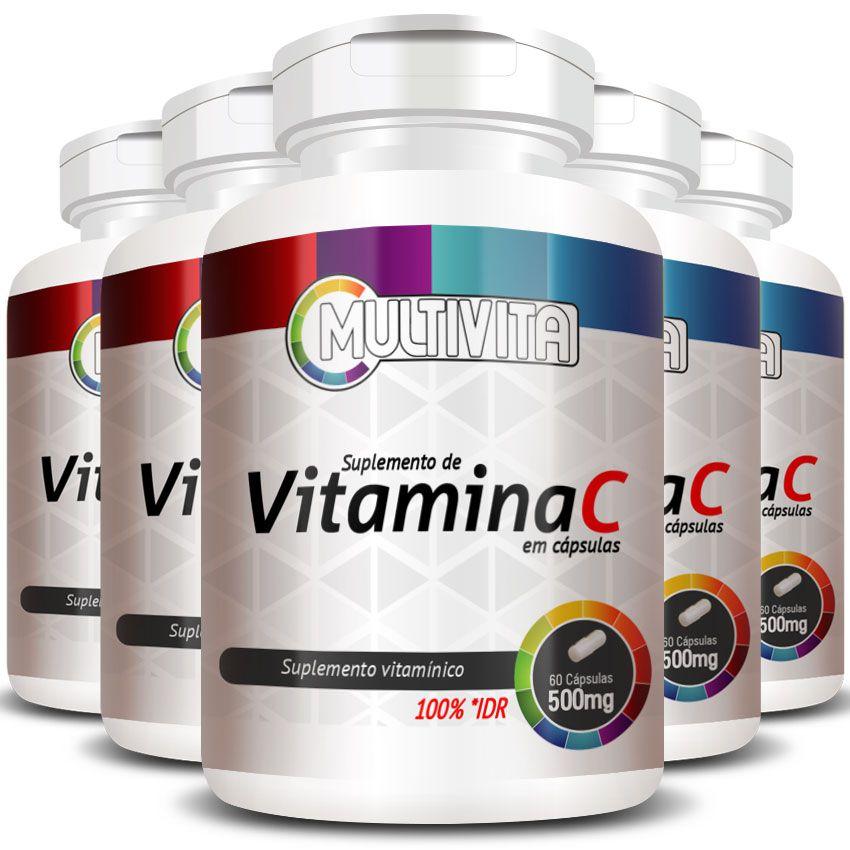 Vitamina C em cápsulas de 500mg - 5 Potes  - Natural Show - Produtos Naturais, Suplementos e Cosméticos