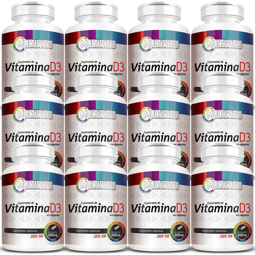 Vitamina D3 - 60 Cápsulas de 500mg - 12 Potes  - Natural Show - Produtos Naturais, Suplementos e Cosméticos