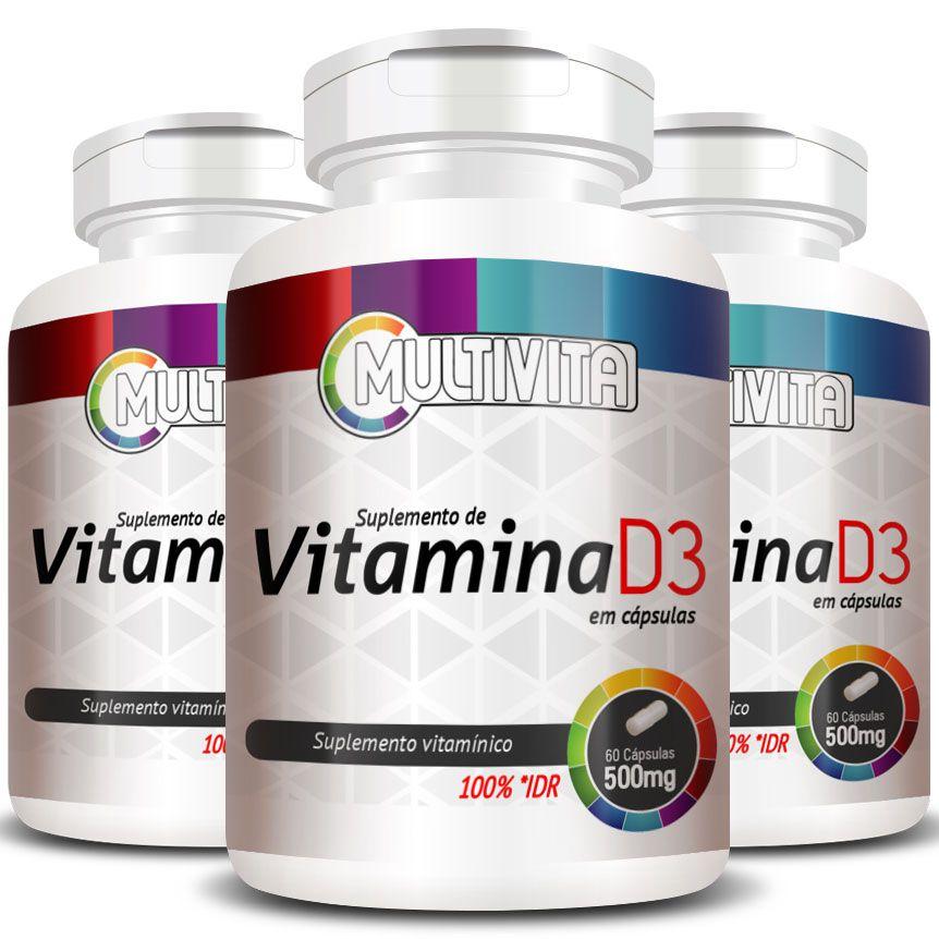Vitamina D3 - 50mcg (2000UI) - 3 Potes (180 Cáps.)