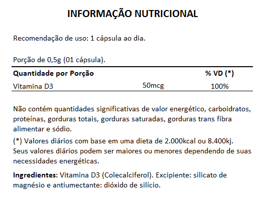 Vitamina D3 - 60 Cápsulas de 500mg - 3 Potes  - Natural Show - Produtos Naturais, Suplementos e Cosméticos