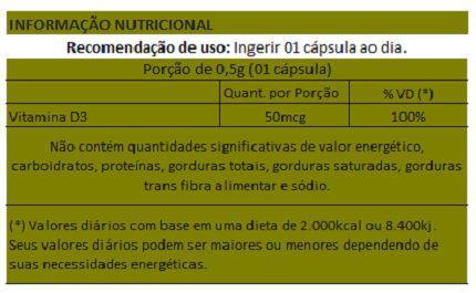 Vitamina D3 - 60 Cápsulas de 500mg   - Natural Show - Produtos Naturais, Suplementos e Cosméticos