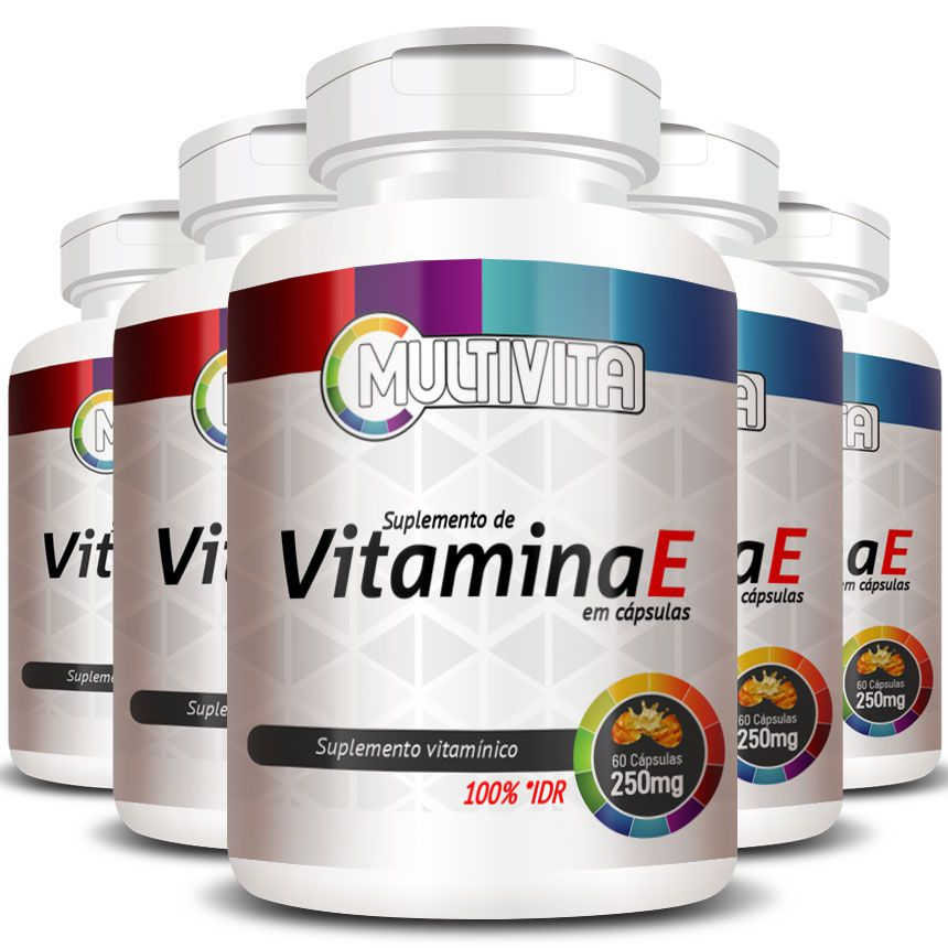 Vitamina E 250mg 100% IDR Acetato DL-Alfa Tocoferol - 5 Pts (300 cáps)