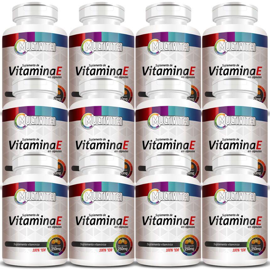 Vitamina E em Cápsulas de 250mg - 12 Potes  - Natural Show - Produtos Naturais, Suplementos e Cosméticos