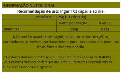 Vitamina E Concentrada - Cápsulas de 250mg - 01 Pote  - Natural Show - Produtos Naturais, Suplementos e Cosméticos