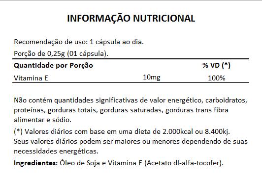 Vitamina E Concentrada - Cápsulas de 250mg - 03 Potes  - Natural Show - Produtos Naturais, Suplementos e Cosméticos