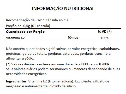 Vitamina K2 - 60 Cápsulas de 500mg   - Natural Show - Produtos Naturais, Suplementos e Cosméticos