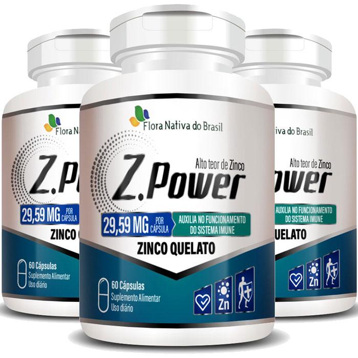 Zinco Quelato 29,59mg Z.Power Original Alto Teor  - 3 Potes