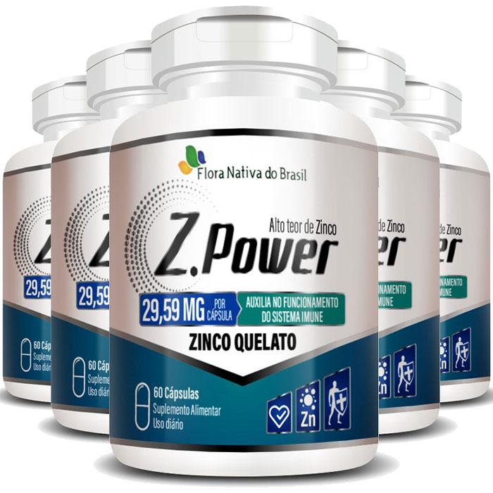 Z.Power 29,59mg - 423% IDR - Alto Teor de Zinco Quelato - 5 Potes (300 cáps.)