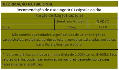 Zinco Quelato 12mg - 60 cápsulas  - Natural Show - Produtos Naturais, Suplementos e Cosméticos