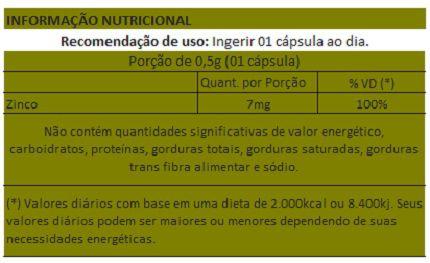 Zinco em cápsulas de 500mg - 5 Potes  - Natural Show - Produtos Naturais, Suplementos e Cosméticos