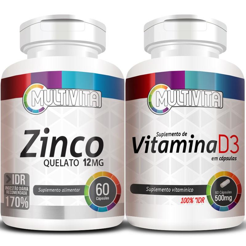 Kit - Zinco Quelato - 60 cáps.12mg + Vitamina D3 - 60 cáps. 500mg (Aumentar Imunidade)