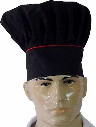 Chapéu Mestre Cuca Chef de Cozinha Preto/ Vermelho
