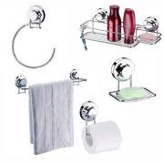 Kit Para Banheiro 5 Peças Aço Cromado Fixação Por Ventosa