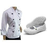 Dolmã Chef Feminina Branco Algodão + Sapatilha Branca Work
