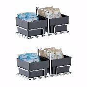 Conjunto 02 Organizador Porta Sachês 2 Divisões Chá E Café