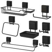 Acessórios Banheiro Organizado 7 Peças Fixação Ventosa Preto