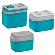 Kit 3 Caixas Térmicas 32,12 e 5 Litros Coolers Térmicos - Azul