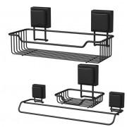 Kit Organizadores Para Banheiro Fixação Por Ventosa Preto