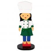 Boneca Adorno Mini Chef de Cozinha Mari Decoração em MDF