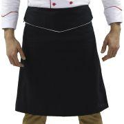 Avental Chef de cozinha Confeiteiro Preto/Branco