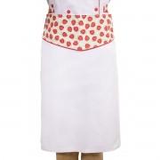 Avental de Cintura Tipo Saia Chef Confeitaria Branco Morangos