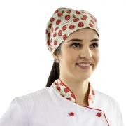 Bandana Chef de Cozinha Confeiteira Morangos