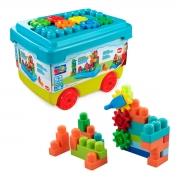 Caixa de Brinquedo com Blocos e Engrenagens de Montar 53 Peças - Wp Connect