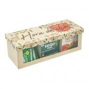 Caixa Porta Sachês em Aço 3 Divisões Hora do Chá - Geguton