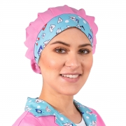 Chapéu Tipo Gorro Rosa Estampado Dentista - Wp Connect