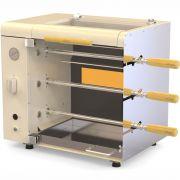 Churrasqueira a Gás Rotativa 3 espetos Acendimento Automático Rechaud - Champagne