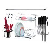 Conjunto Acessórios de Cozinha Barra 80cm 4 Peças Escorredor