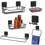 Conjunto Banheiro Utensílios Preto 6 Peças Fixação Ventosa
