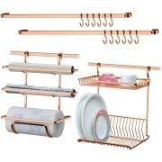 Conjunto P/ Barra Cozinha Escorredor Porta Rolos Barras 45cm
