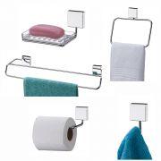 Conjunto Para Banheiro 5 peças Fixação Por Parafuso - Inox