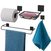 Conjunto Para Banheiro Fixação Parafuso 4 Peças - Preto