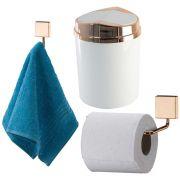 Conjunto Rosé Gold Para Banheiro Papeleira Gancho Lixeira 5L