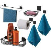 Conjunto Suportes Banheiro 6 Peças Fixação Parafuso - Preto