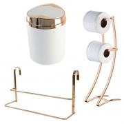 kit duplo lixeira basculante toalheiro de box Suporte papel